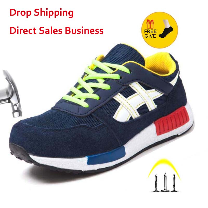Men Women Safety Shoes Steel Toe Work Shoes Flats Casual Protective Footwear Sneaker Protect construction safety Mens work Boots