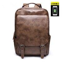 Mens Large Vintage PU leather Backpack School Laptop Bag Brown Black Laptop and Notebook|Backpacks| |  -