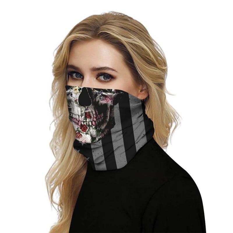 Купить с кэшбэком For Billie Eilish 3D American flag mask Women Men Trend Street Shooting Caps Knit Solid Hip-hop Casual Cuffed