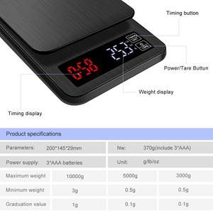 Image 5 - yieryi LCD Digital Electronic Drip Coffee Scale with Timer 3kg 5kg 0.1g Digital coffee weight Household Drip Scale Timer