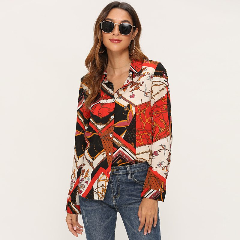 Women Chain Print Blouses 2019 Loose Casual Long Sleeve Office Shirt Leisure Turn Down Collar Plus Size Tunic Tops Haut Femme