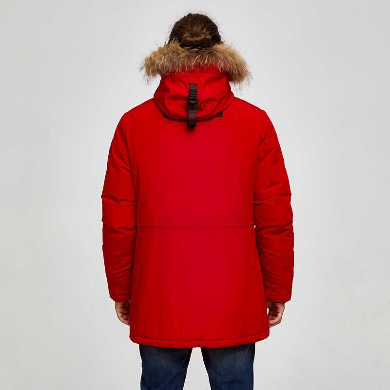 Tiger Force 2019 Аляска парка зимняя куртка для мужчин водонепроницаемое теплое пальто с натуральным мехом с капюшоном мужская Толстая зимняя куртка с большим карманом