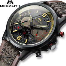 MEGALITH 2019 New Fashion Watch Man Leather Strap Wrist Watche Men Sport Waterproof Chronograph Relogio Masculino 8083