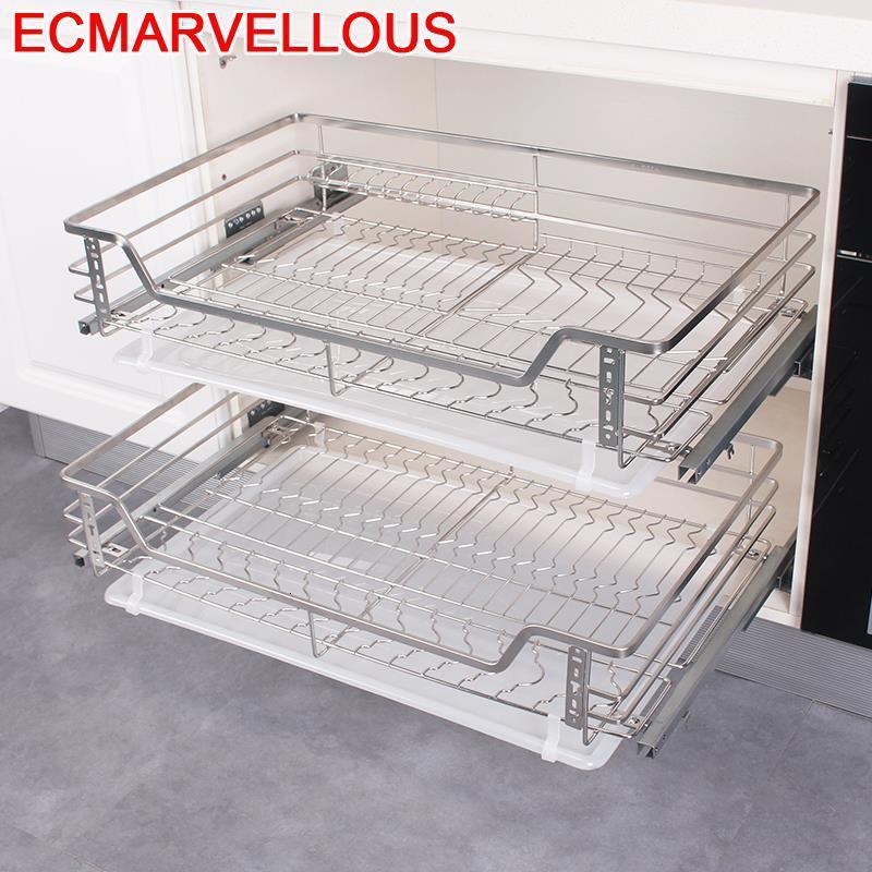 Dish Rack Pantry Organisadores Para Armario De Cosina Stainless Steel Cuisine Cocina Organizer Kitchen Cabinet Storage Basket
