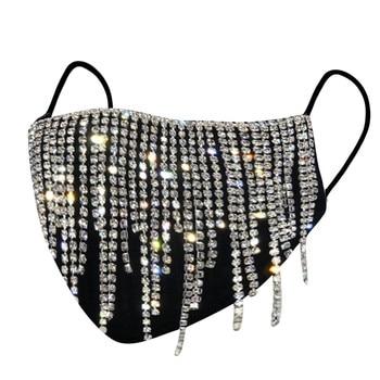 #30 1PC  Women's Sequin Mask Fashion Club Face Mask Flash Diamond Jewelry Tassel Pendant Party Mask mascarillas adultos