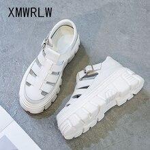 XMWRLW Women's Sandals 2020 Summer Genuine Leather High Heels Shoes