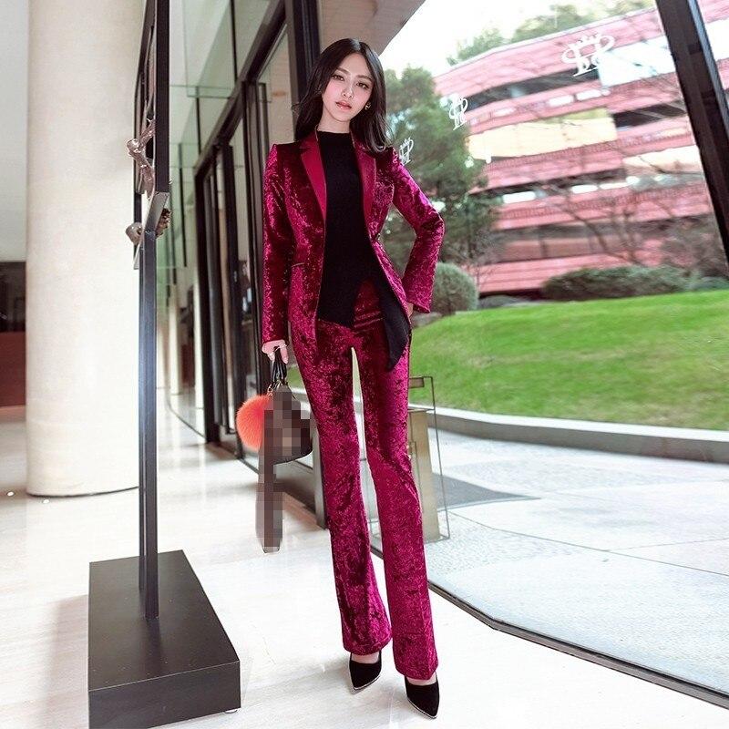 Autumn Winter New Luxury Ladies Jacket And Pants 2 Pieces Suits 2020 Korean Wide Leg Flare Pants Vintage Slim Women Tuxedo Sets