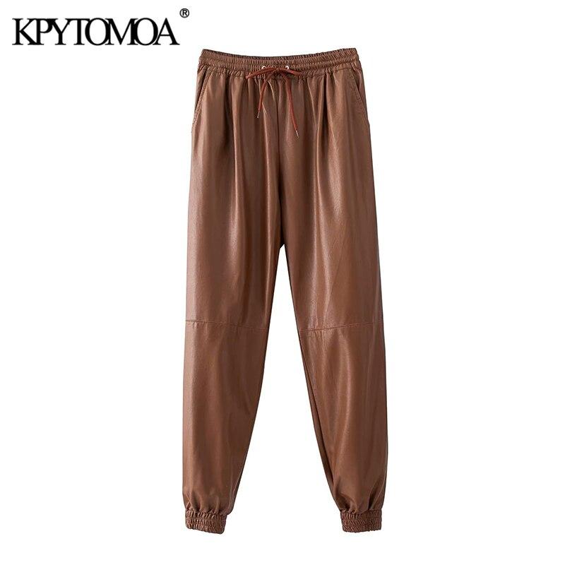 KPYTOMOA Women 2020 Chic Fashion PU Faux Leather Pants Vintage Elastic Waist Drawstring Pockets Female Ankle Trousers Pantalones