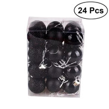 24 stücke 3cm Weihnachten Ball Schwarz Hängen Kunststoff Anhänger Ornamente Weihnachten Baum Dekoration für Hochzeit Party Urlaub