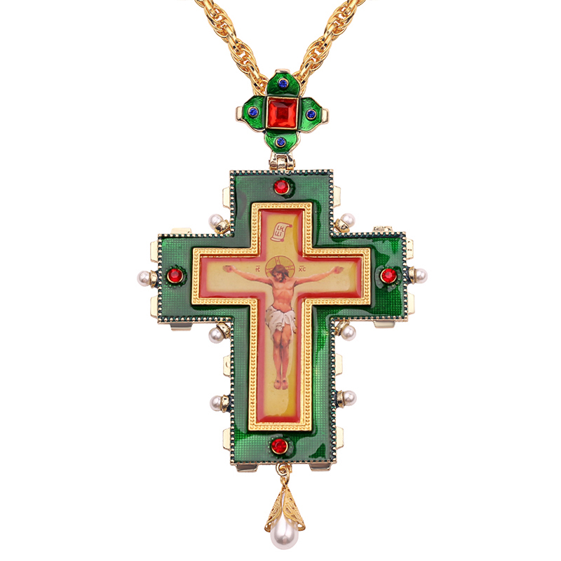 Pope Francis Pectoral Cross Orthodox Cross Necklace Religious Jesus icon Metal is encrusted with a crucifix necklace men(China)