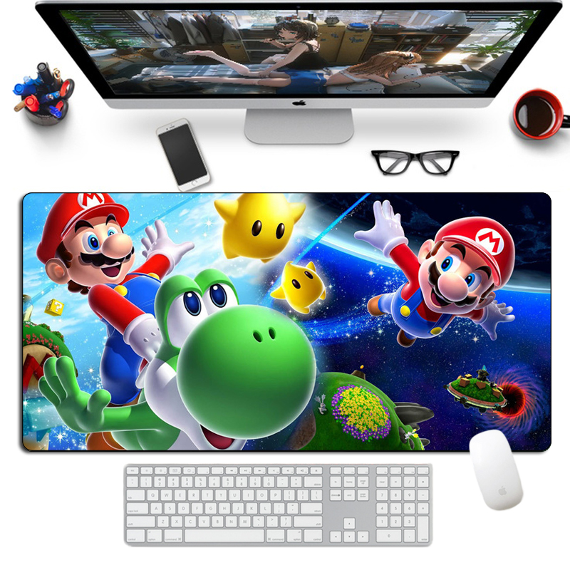 Large Kawaii Mario <font><b>Mouse</b></font> <font><b>Pad</b></font> Gamer Otaku 80x40cm Natural Rubber <font><b>XL</b></font> Locking Edge Cartoon Gaming MousePad Keyboard Desk Mat image
