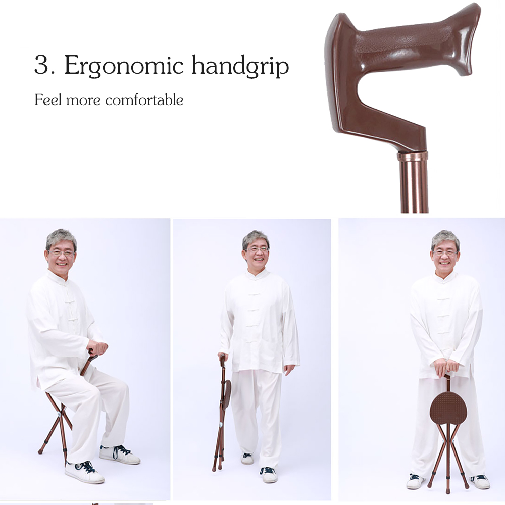 Cofoe Adjustable Aluminium Walking Cane with Seat Folding Crutch Stool Telescopic Walking Stick Chair 3 Leg Sitting Tripod Cane
