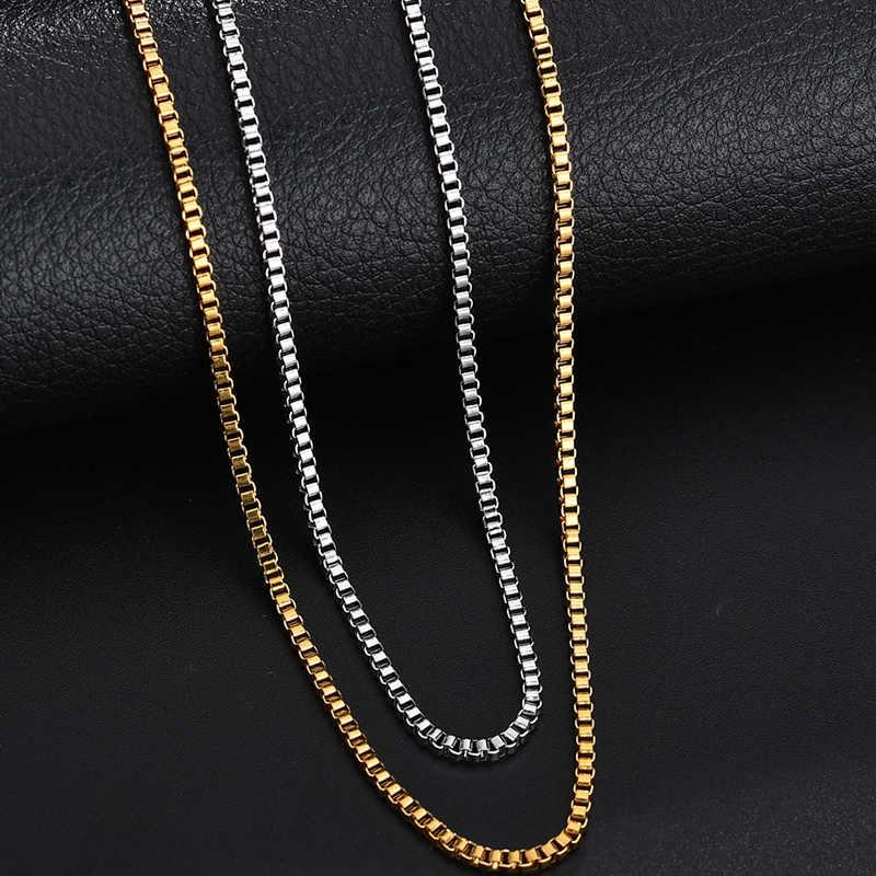 ELSEMODE 1.5mm/2.0mm/2.5mm/3.0 milímetros de Ouro Cadeia de Caixa Quadrada Em Aço Inoxidável de Alta Qualidade colar para Mulheres Dos Homens Por Atacado Acessório