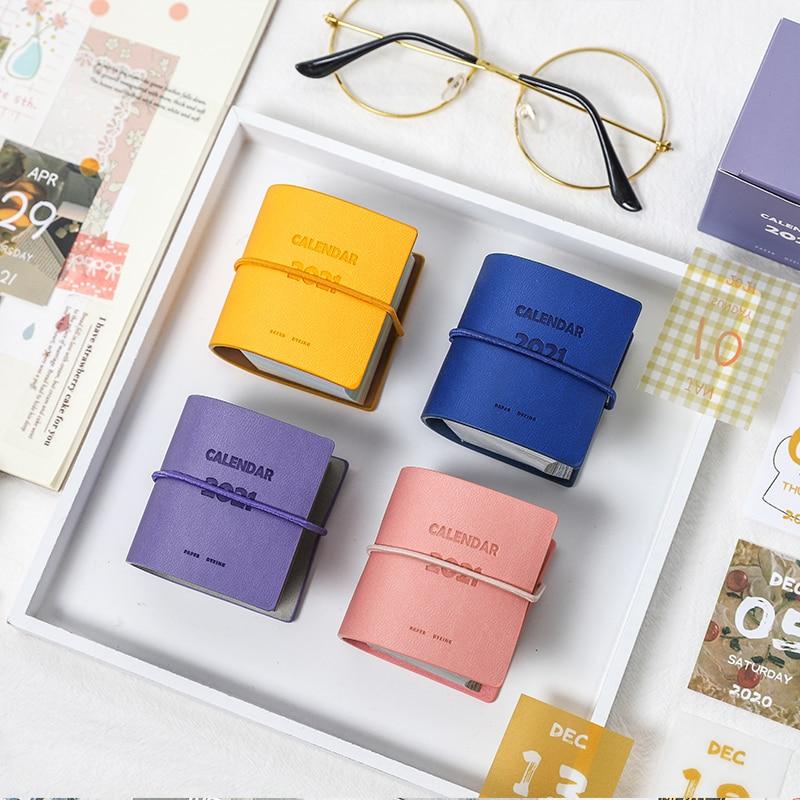Yoofun 457sheets 2021 Calendar Cute PU Cover Mini Calendar for Scrapbooking Bullet Journaling DIY Office School Supplies 1