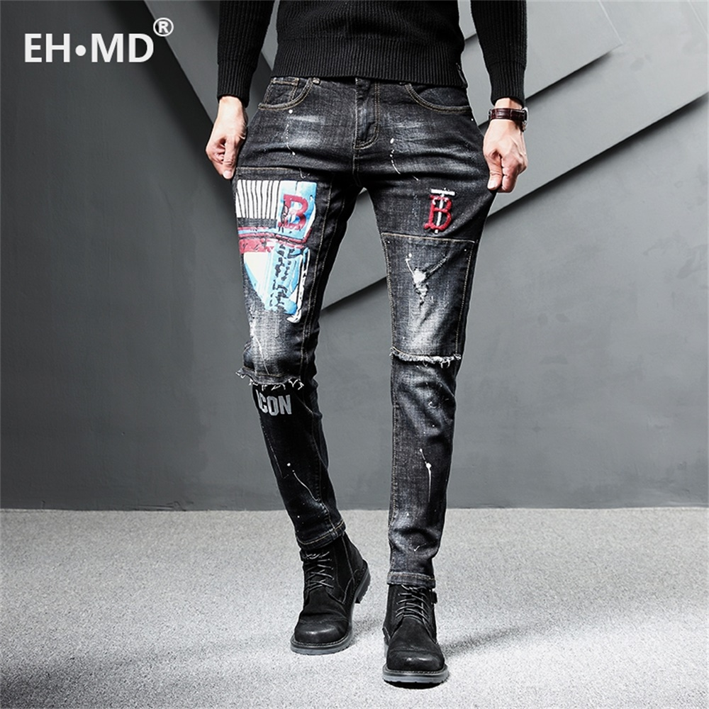 EH · MD® 2020 New Hole Printed Letter Jeans Men's Embroidery Splash Ink Soft Casual Loose Cotton Elastic Trousers Patch Red Ears
