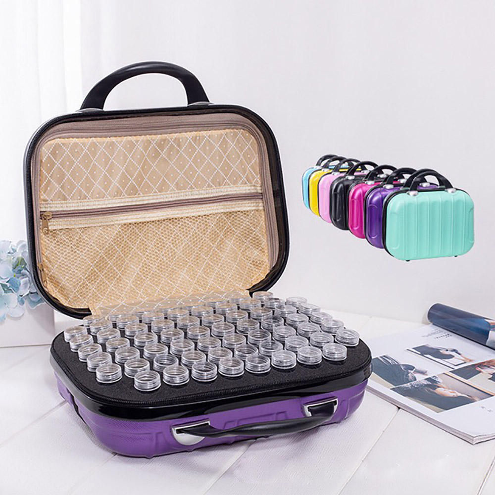 24/132 Bottles Diamond Painting Accessories Storage Container Bag Box Carry Case Zipper Double Layer Bead Mural Tools Embroidery