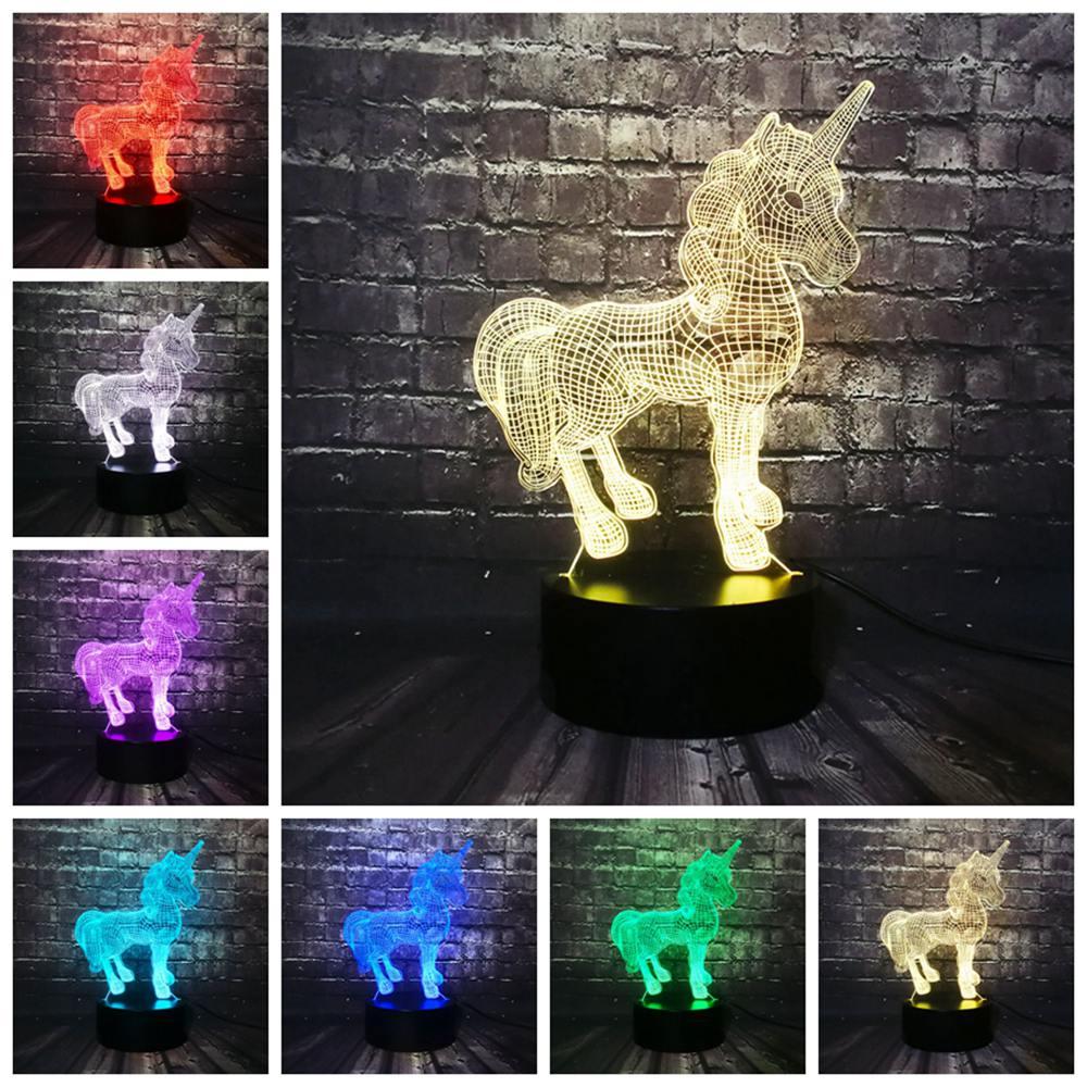 Creative nouveau 2019 3D lampe à LED veilleuse licorne cheval RGB ampoule fête décoration noël cadeau dessin animé Luminaria Lampara