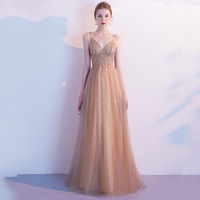Sexy Spaghetti Strap Backless Lady Formal Party Dress Qipao Bling Deep V neck Maxi Prom Dress Elegant Champagne Robe De Soiree