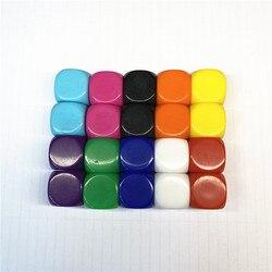 10 Pcs 16mm Multicolor Em Branco Acrílico Dice Canto Arredondado #16 Ensino Adereços Jogo Jogos De Tabuleiro Acessórios Ferramentas Matemáticas