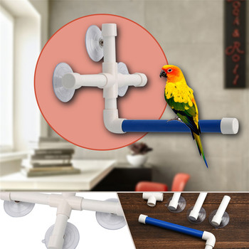 Pet Birds Shower Perches Toys Bird Bath Standing Platform Rack Wall Suction Cup Parrot Budge Paw Grinding Stand Toy image