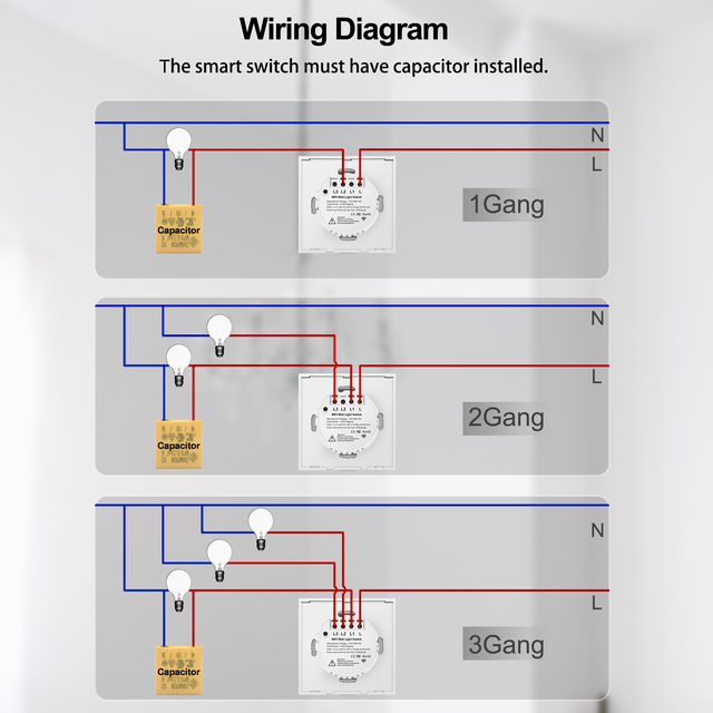 Wifi Wall Touch Switch EU No Neutral Wire Required Smart Light Switch 1 2 3 Gang 220V Tuya Smart Home Support Alexa Google Home 5