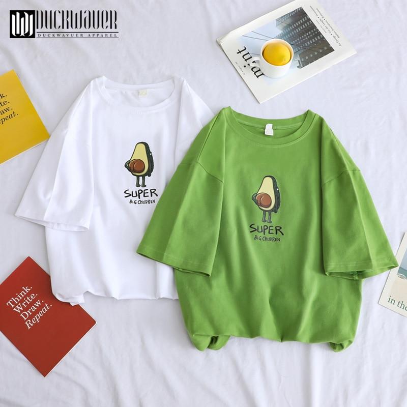 Duckwaver Summer Minimalist Cartoon Print Women Basic Tshirt Aesthetic High Quality Soft Loose T-shirts 90s Sweet Couple Clothes