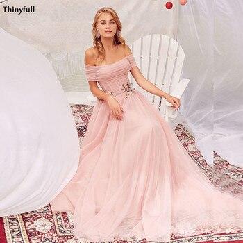 Thinyfull-vestidos de novia Bohemia con hombros descubiertos, tul bordado de princesa para...