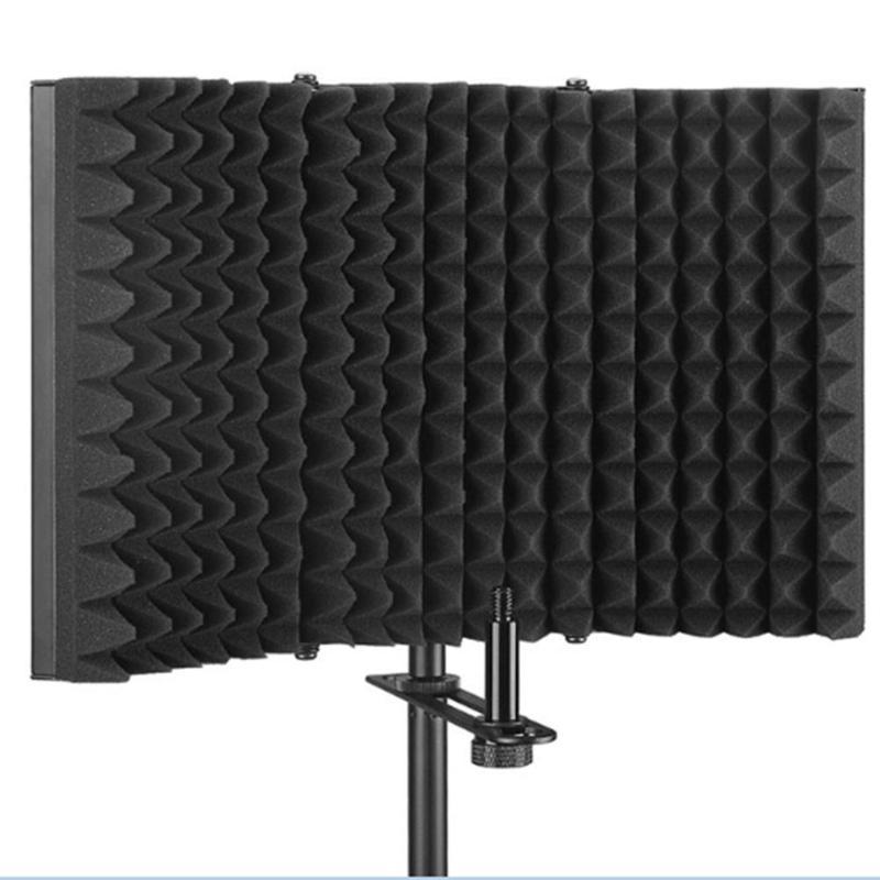3 Folded Microphone Isolation Shield Metal And Sponge Sound Absorbing Foam Studio Recording Sound Absorber Foam Panel