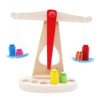 Nouveau jouet éducatif Montessori petit jouet en bois nouvelle Balance Balance avec 6 poids pour enfants cadeaux d'anniversaire bébé