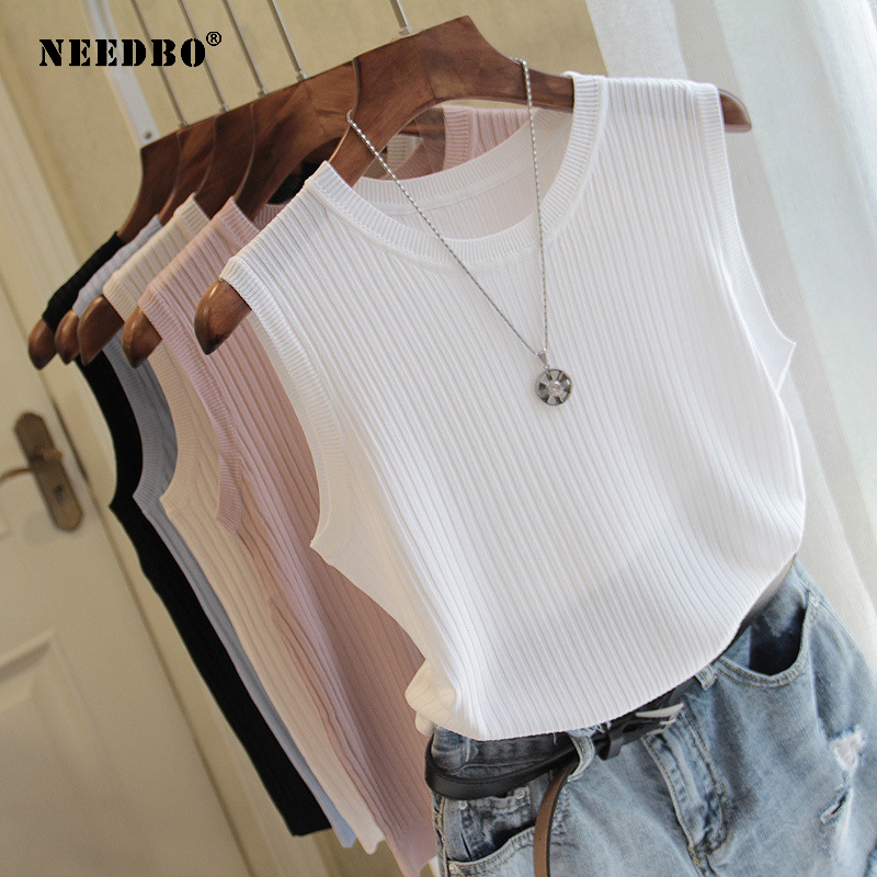 Tank Tops Women Sleeveless White Top Knitted Vest Women Top O-neck Solid Tank Fashion Female Casual Knit Woman Shirt Gilet Femme