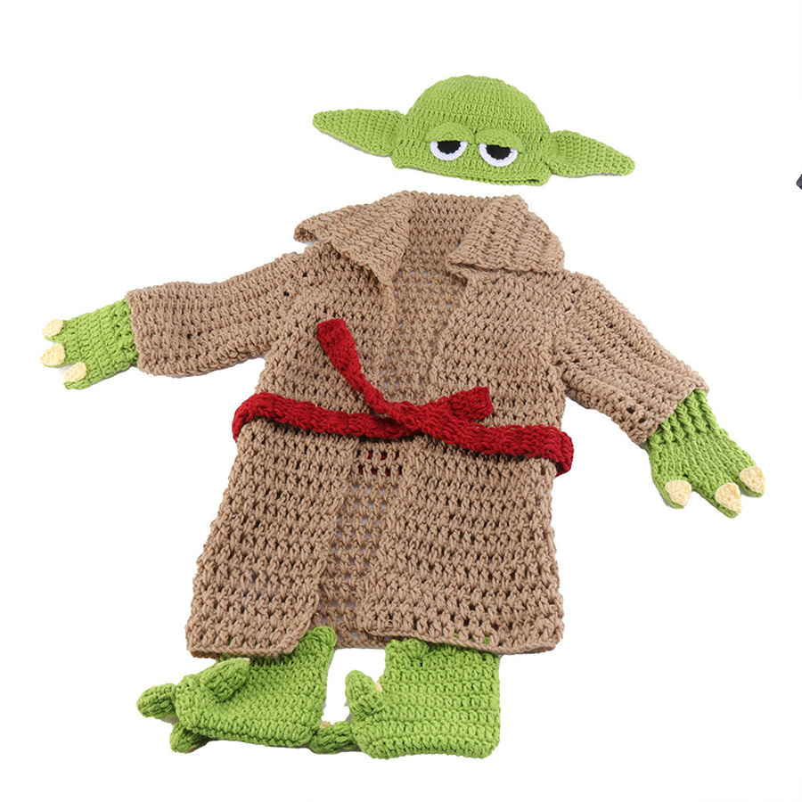 Yoda Style Newborn Infant Baby Photography Prop Crochet Knit Costume Set Handmade Toddler Cap Outfits for Baby Shower Gift (15)