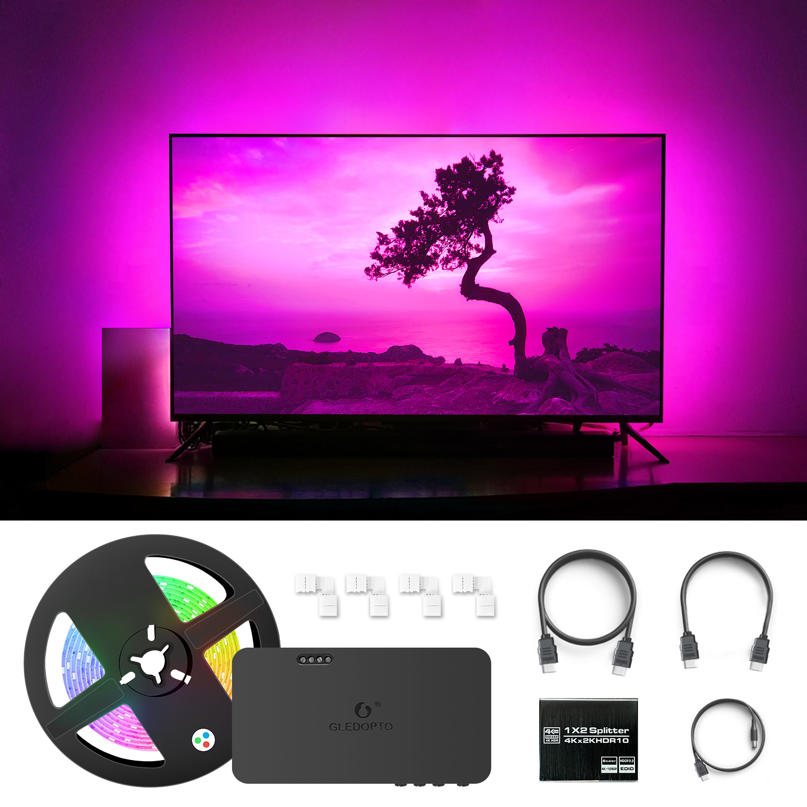 GLEDOPTO Smart TV Background Flex LED Strip Light HDMI compatible SYNC Box  Kit Color Change HDMI compatible Splitter Adapter RGB Controlers