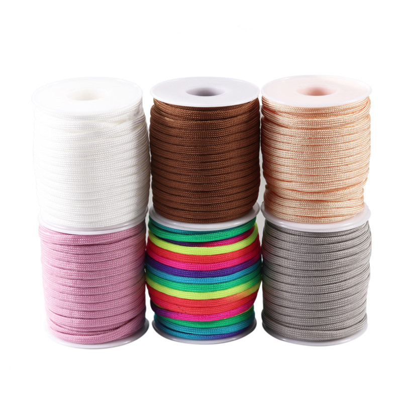 20m/roll 4mm Rainbow Parachute Cord Nylon Paracord Rope Thread DIY Jewelry Making Decorative Handicrafts Accessories Wholesale