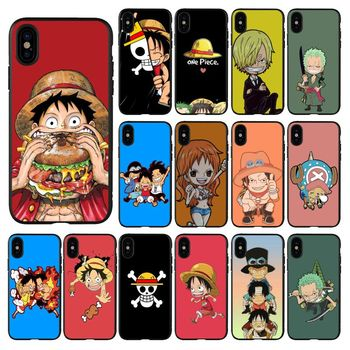 Super cute cartoon sea thief king Black TPU Soft Phone Cover for iPhone 11 pro XS MAX 8 7 6 6S Plus X 5 5S se 2020 XR case image