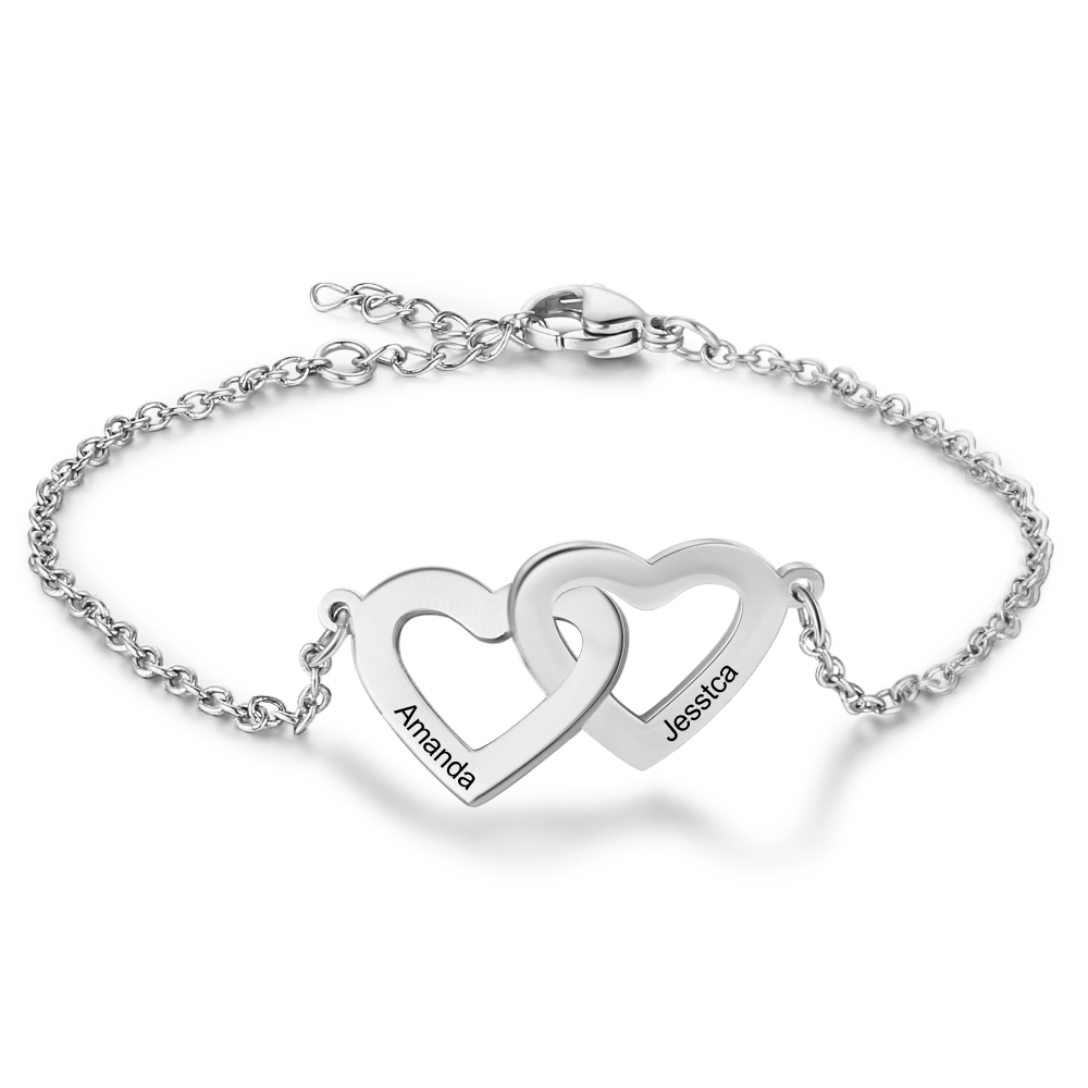 Personalized Bracelets Fashion Stainless Steel  Jewelry Heart Shape Custom 2 Names Charm Link Bracelets Promised Gift For Women