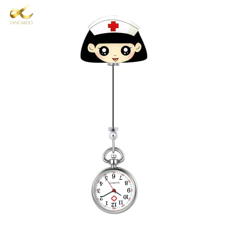 LANCARDO Retro Mini Lovely Nurse Hanging Watch Digital Quartz Clip Type FOB Nurse Doctor Watch Hanging Female Lady's