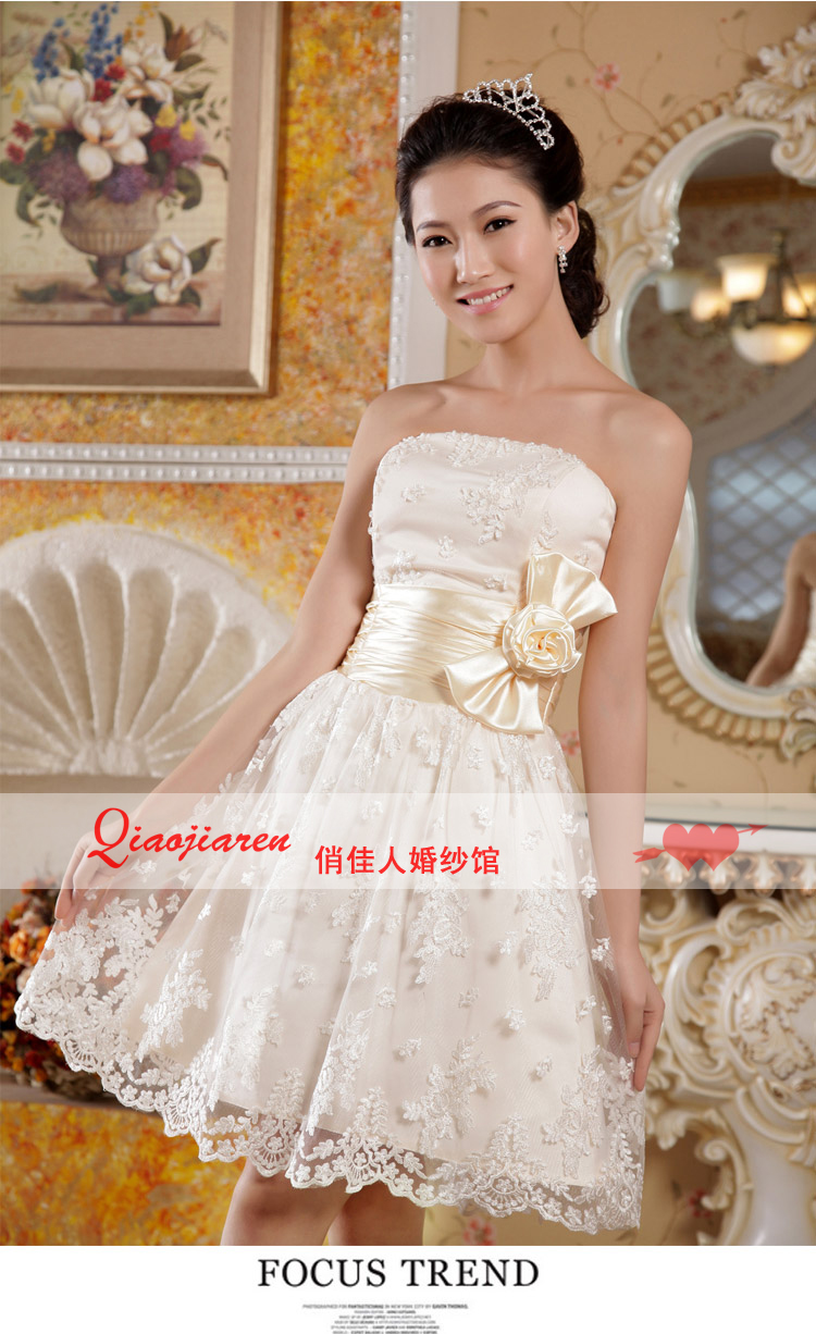 Free Shipping 2014 Hot Sale Really New Arrival Fashion Sweet Champagne Lace Tube Top Short Design Handmade Bow Bridesmaid Dress