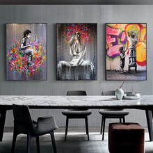 Modern Graffiti Art Girl Child Abstract Canvas Painting Wall Art Posters and Prints For Living Room Wall Picture Home Wall Decor modern abstract landscape picture home decor nordic canvas painting wall art mountain sunrise prints and posters for living room