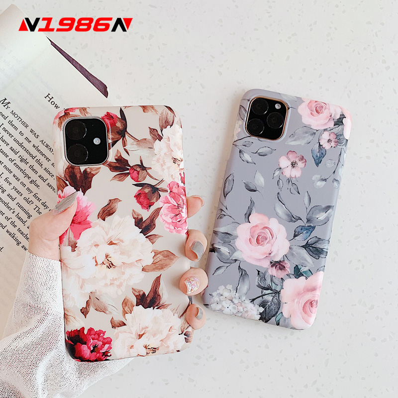 N1986N For iPhone X XR XS Max 11 Pro Max 6 6s 7 8 Plus Phone Case Art Vintage Rose Flowers Floral Soft IMD Cover For iPhone 11