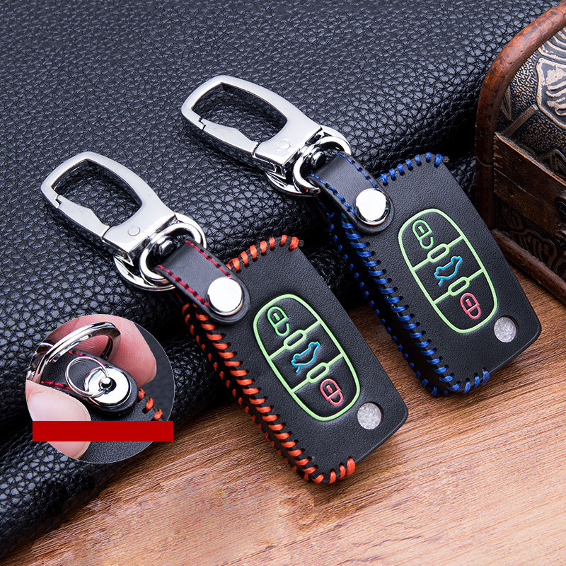 Luminous leather Car <font><b>Key</b></font> Case For <font><b>Peugeot</b></font> 107 206 207 <font><b>208</b></font> 306 307 301 308S 407 2008 3008 4008 5008 RCZ For Citroen C2 C3 C4 C5 image