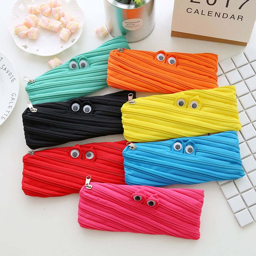 Hot Big Eyes Style Pencil Case Multi Function Pen Case Package Bag /cosmetic Bag/ Stationery Belt Zipper Office School Supplies