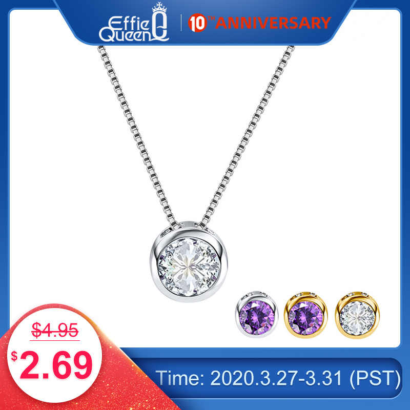 Effie Queen Women Necklace Cute Little Round Pendant Necklace with Shining Austrian Zircon Silver Color Necklace Jewelry PN74