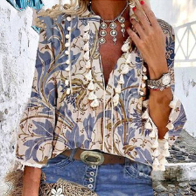 Boho Blouse Elegant V Neck Tassel Women Tops Sexy Three Quarter Sleeve Floral Print Shirt 2020 Spring Autumn Chic Blouses S-2XL 4