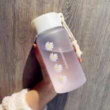 600ml pequena margarida garrafas de água de plástico transparente bpa livre criativo fosco garrafa de água com corda portátil viagem xícara de chá
