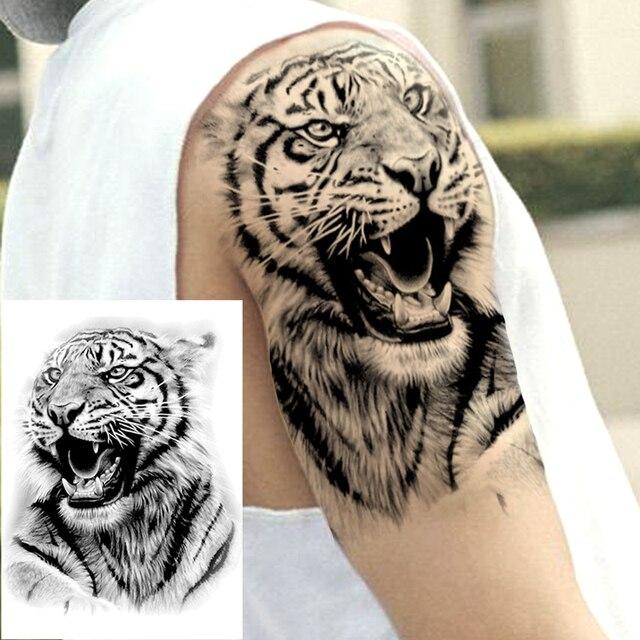 Big Black Tiger Tattoos Fake Men Wolf Leopard Tatoos Waterproof Large Beast Monster Body Arm Legs Tattoos Temporary Paper Cover 2