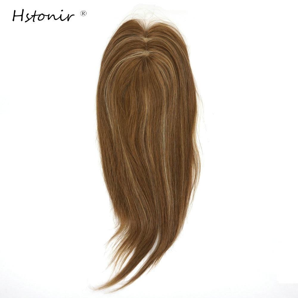Hstonir Human Pure Hair Piece Clip One Piece Hair Toupee For Women Hair Extension Topper European Remy Hair TP34