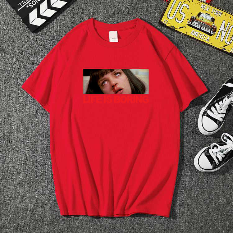 하라주쿠 화이트 여성 티셔츠 2020 t 여름 참신 티 셔츠 femme life boring letters 프린트 남성 여성 tshirt