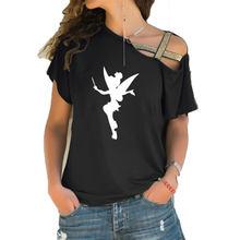 Nova mulher tinkerbell fada silhueta dos desenhos animados fada t camisa femme tinkerbell impresso bonito irregular inclinação cruz bandagem topos