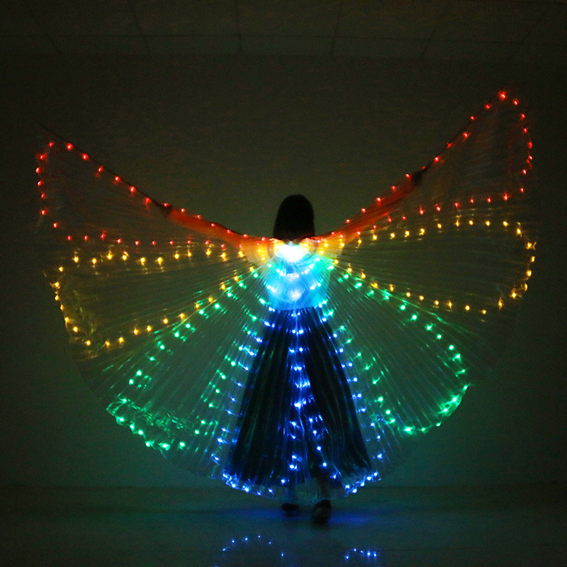 New Belly Dance Performance Prop Women Dance Accessories Girls DJ LED Wings Light Up Wing Costume LED Butterfly Wings Fan-shaped