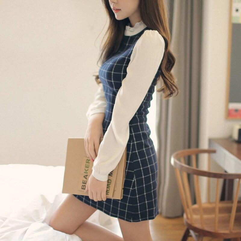 Платье в клетку с длинным рукавом для женщин, корейский стиль, лоскутные платья для женщин, модные облегающие платья размера плюс для женщин...